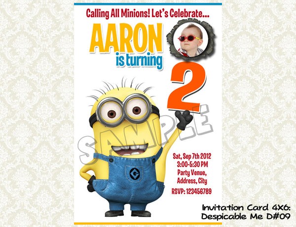MINIONS Despicable Me Invitation - Birthday party digital file - Minions despicable me  (4X6) D#9