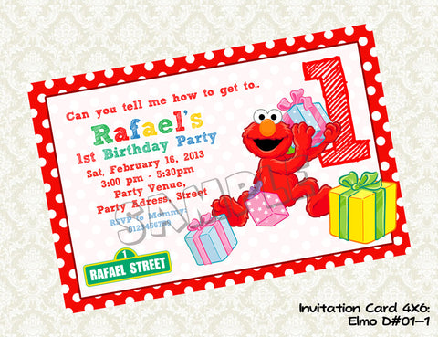 ELMO SESAME STREET Invitation - Elmo Invite - Sesame Street Birthday - Elmo Party Printable Invitations (Choose 1 color)