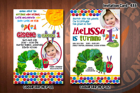 HUNGRY CATERPILLAR Birthday Invitation with Photo - Printable and Personalized for Hungry Caterpillar birthday party