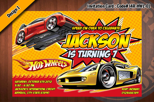 Hot Wheels Birthday Party Invitation Printable Personalized 4x6 D
