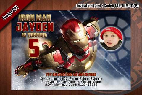 Personalized IRON MAN Printable Birthday Party Invitation for Iron Man Birthday 4x6 D#1 (with Photo)