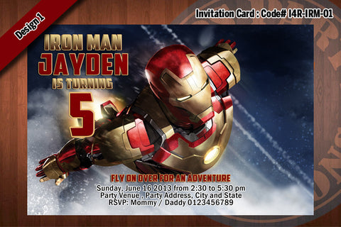 Personalized IRON MAN Printable Birthday Party Invitation for Iron Man Birthday 4x6 D#1