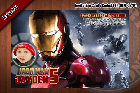 Personalized IRON MAN Printable Birthday Party Invitation for Iron Man Birthday 4x6 D#2 (with Photo)