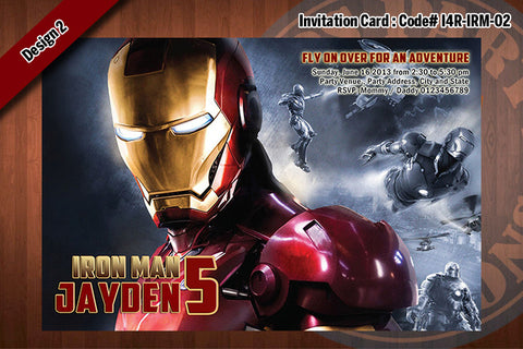Personalized IRON MAN Printable Birthday Party Invitation for Iron Man Birthday 4x6 D#2