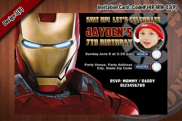 Personalized IRON MAN Printable Birthday Party Invitation for Iron Man Birthday 4x6 D#3 (with Photo)