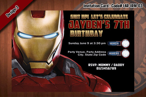 Personalized IRON MAN Printable Birthday Party Invitation for Iron Man Birthday 4x6 D#3