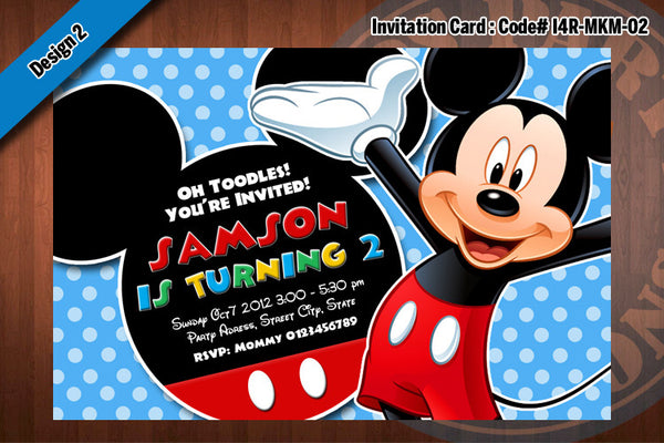 MICKEY MOUSE Invitation, Mickey Mouse Birthday black, red, blue polkadot  (Choose 1 design)