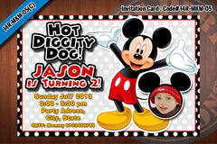 MICKEY MOUSE Photo Invitation, Mickey Mouse Birthday, white, red, black, blue polkadot  (Choose 1 design)