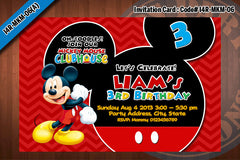 MICKEY MOUSE Invitation, Chevron Mickey Mouse Birthday, red, black, blue, grey (Choose 1 design)