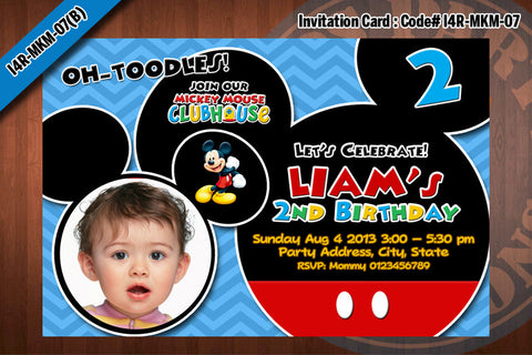 MICKEY MOUSE Photo Invitation, Chevron Mickey Mouse Birthday, red, black, blue, grey (Choose 1 design)