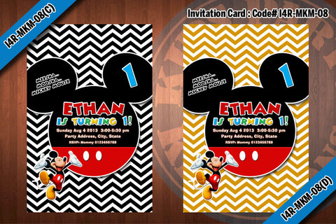 MICKEY MOUSE Invitation, Chevron Mickey Mouse Birthday, red, black, blue, yellow (Choose 1 design)