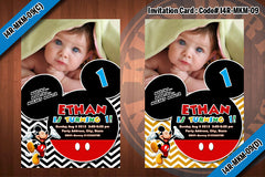 MICKEY MOUSE Photo Invitations - Chevron Black and white or blue or red or yellow Birthday Party Invitation (CHOOSE 1 design) 4x6