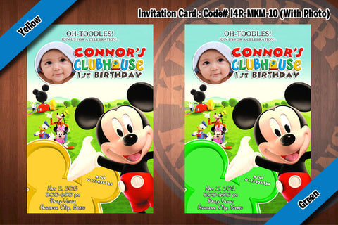 MICKEY MOUSE Photo Invitation, Mickey Mouse Clubhouse Birthday (4x6)