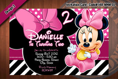 MINNIE MOUSE Invitation, Baby Minnie Mouse Invitation, Pink Black Zebra Mouse Invitation