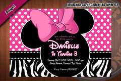 MINNIE MOUSE Birthday Party Invitation 4x6  Zebra, Polkadots, Stripes (choose 1 design) Minnie Mouse