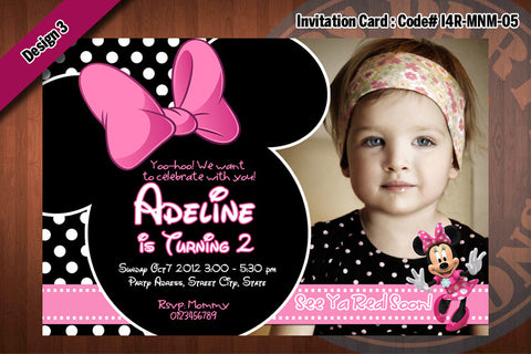MINNIE MOUSE Invitations - Minnie Mouse Birthday Party Invitation (CHOOSE 1 design) PRINTABLE