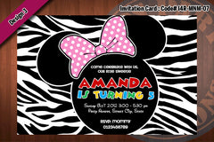 MINNIE MOUSE Invitation Zebra prints for Minnie Mouse birthday party (Choose 1 design) 4x6