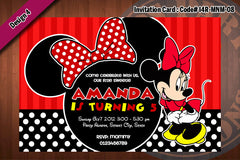 MINNIE MOUSE Invitation Polkadots and Stripes for Minnie Mouse birthday party (Choose 1 design) 4x6