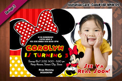 MINNIE MOUSE Invitation, Minnie Mouse Birthday, Red Polkadots, Zebra Prints  Party Invitation with FREE Thank You card (Choose 1 design)