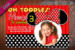 MINNIE MOUSE Invitation, Minnie Mouse Birthday, Red, Zebra, polkadot Party Invitation (Choose 1 design)