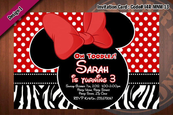 MINNIE MOUSE Invitation, Minnie Mouse Birthday, Red polkadot, Zebra print,  Party Invitation  (Choose 1 design)