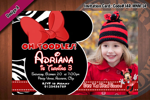 MINNIE MOUSE Photo Invitations - Minnie Birthday Party Invitation (CHOOSE 1 design) 4x6