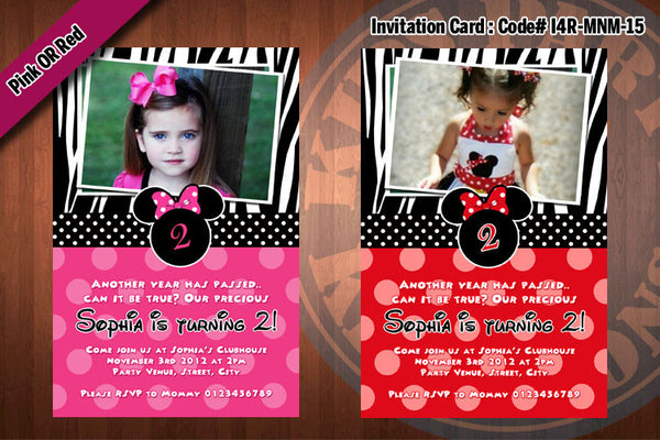 MINNIE MOUSE Invitation, Minnie Mouse Birthday, Red, Pink, Zebra, small polkadot Party Invitation (Choose 1 design)