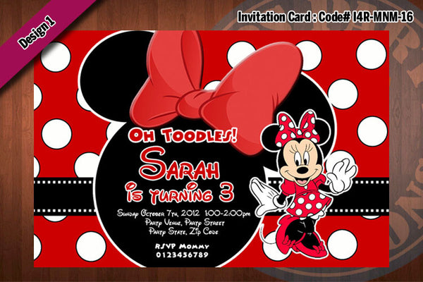 MINNIE MOUSE Invitation, Minnie Mouse Birthday, Red, Zebra, large polkadot Party Invitation (Choose 1 design)