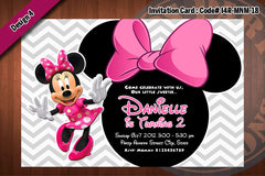 MINNIE MOUSE Invitation, Chevron Minnie Mouse Birthday (Choose 1 color)