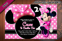 MINNIE MOUSE Invitation, Minnie Mouse Birthday, Zebra and Polkadot print Party Invitation (Choose 1 design)