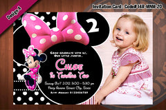 MINNIE MOUSE Photo Invitations - Polka dots and Zebra  Birthday Party Invitation (CHOOSE 1 design) 4x6