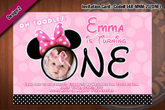 MINNIE MOUSE Invitations -  Onesie Birthday Party Photo Invitation - First birthday (CHOOSE 1 color) 4x6