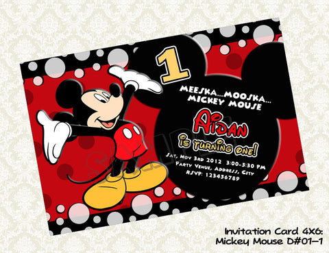 MICKEY MOUSE Invitation - Mickey Mouse Birthday - Mickey Mouse Party Printable (Choose 1 design)