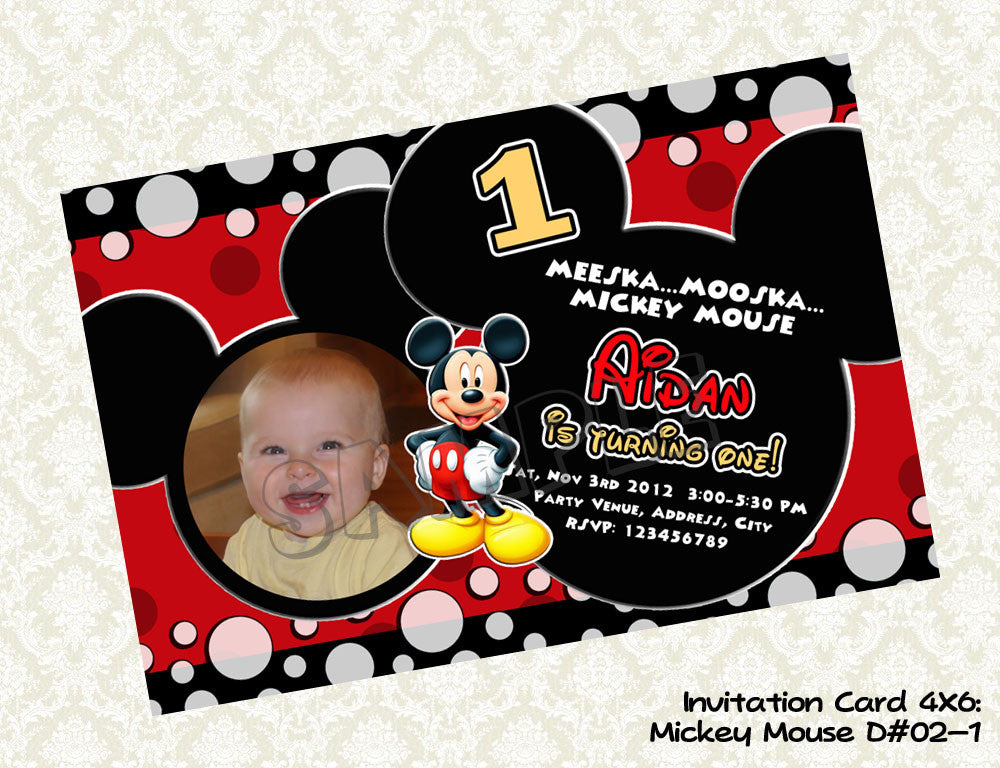 MICKEY MOUSE Invitation Mickey Mouse Photo Birthday Card Mickey