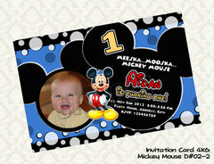 MICKEY MOUSE Invitation - Mickey Mouse Photo Birthday Card - Mickey Mouse Party Printable (Choose 1 design)