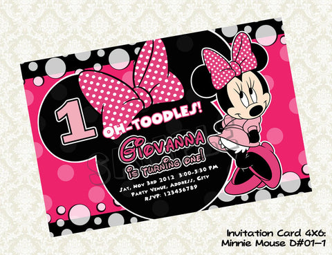 MINNIE MOUSE Invitation - Minnie Mouse Birthday - Minnie Mouse Party Printable - Colors Hot Pink, Light Pink and Black (Choose 1 design)