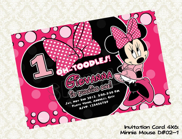 Minnie Mouse Invitation Minnie Mouse Birthday Card Minnie Mouse