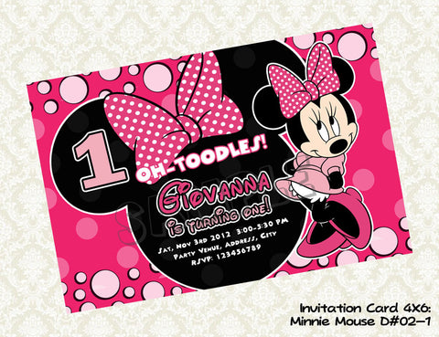 MINNIE MOUSE Invitation - Minnie Mouse Birthday Card - Minnie Mouse Party Printable Hot Pink, Light Pink and Black(Choose 1 design)