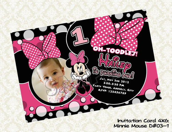 MINNIE MOUSE Photo Invitation - Minnie Mouse Birthday Card - Minnie Mouse Party Printable Red and Black (Choose 1 design)