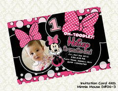 MINNIE MOUSE Photo Invitation - Minnie Mouse Birthday Card - Minnie Mouse Party Printable Red and Black (Choose 1 design) D#2