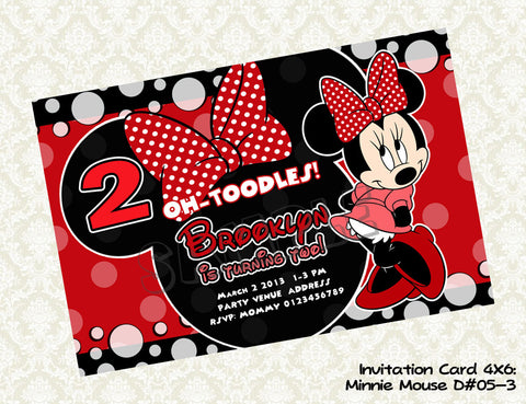 MINNIE MOUSE Invitation - Minnie Mouse Birthday Card - Minnie Mouse Party Printable Hot Pink, Light Pink and Black (Choose 1 design)