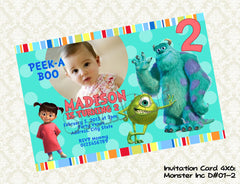 MONSTERS INC Photo Invitation - Monsters Inc Birthday Party - Monsters Inc printable photo invite (6x4)