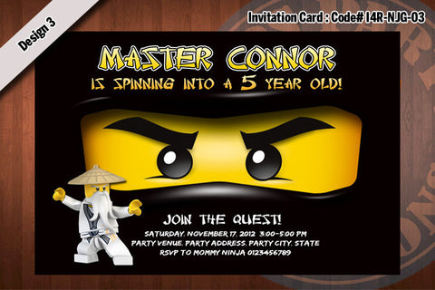 Ninjago Invitation Card D#3 - Black - Cole