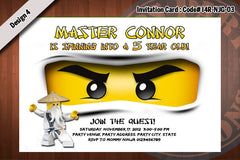 Ninjago Invitation Card D#2 - Blue - Jay