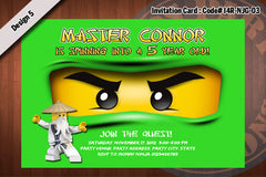 Ninjago Invitation Card D#4 - White - Zane