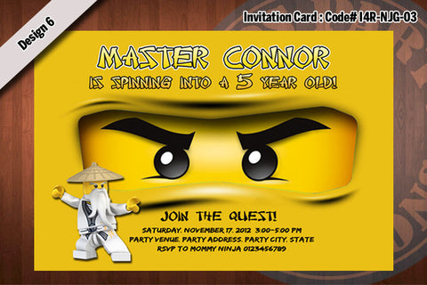 Ninjago Invitation Card D#6 - Gold