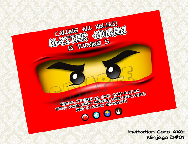 Ninjago invitation for Red Ninja