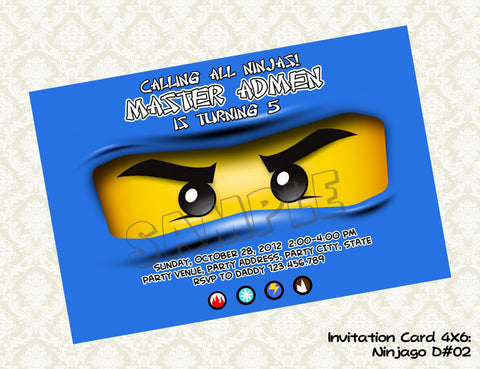 Ninjago invitation for Blue Ninja