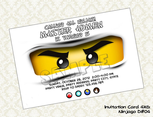 Ninjago invitation for White Ninja