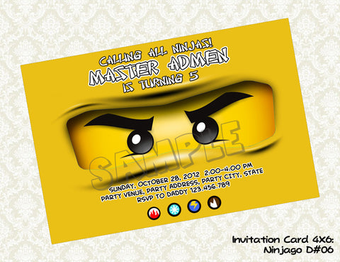 Ninjago invitation for Golden Ninja
